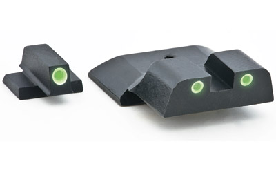 AmeriGlo SW801 Classic 3 Dot Night Sight S&W M&P Green Tritium w|White Outline Black