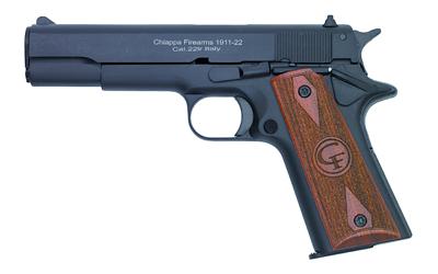 Chiappa Firearms 401038 1911-22 Standard 22 LR SAO 5in. 10+1 Walnut Grip Black Slide