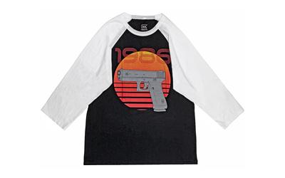 Glock AP95633 Retro 1986 Large 3/4 Sleeve T-Shirt Black/white Cotton/Polyester