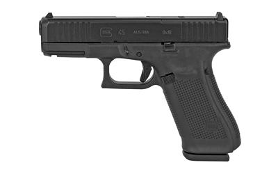 Glock PA455S201MOS G45 Gen 5 MOS 9mm Luger 4.02in. 10+1 Black Black nDLC Front Serrations Slide Black Polymer Grip