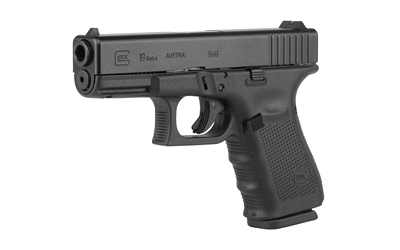 Glock PG1950703 G19 Gen 4 Double 9mm Luger 4.01 15+1 Black Interchangeable Backstrap Grip Black in.