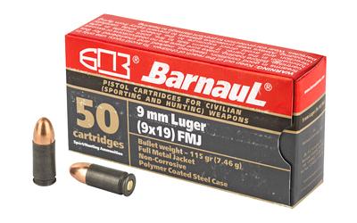 Barnaul Ammunition 9mm, 115Gr, FMJ, Steel Polycoated Case, 50 Round Case BRN9mmLugerFMJ115