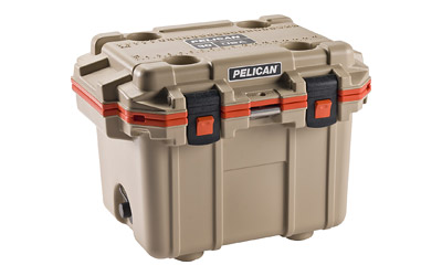 Pelican Elite Cooler, Cooler, Tan|Orange, Hard, 25.30 in.  x 19.00 in.  x 18.50 in.  30Q-2-TANORG