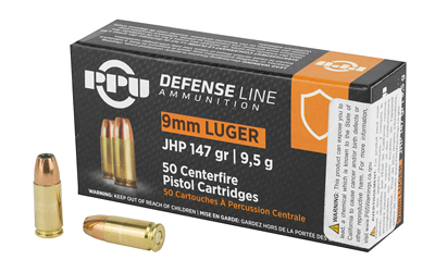 PPU PPD92 Defense 9mm Luger 147 gr Jacketed Hollow Point (JHP) 50 Bx/ 20 Cs