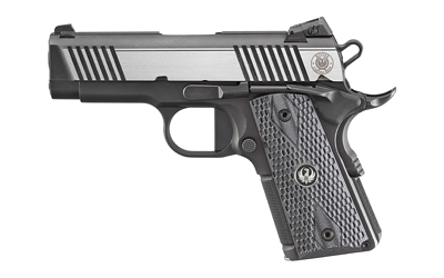 Ruger 6779 SR1911 Officer-Style 45 ACP 3.60in. 7+1 Black Nitride/Stainless Two-Tone Deluxe Checkered G10 Grip
