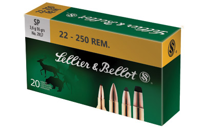 Sellier & Bellot SB22250B Rifle 22-250 Rem 55 GR Soft Point 20 Bx| 25 Cs