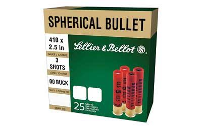 Sellier & Bellot SB410A Shotgun 410 Ga 2.5 Lead 3 Pellets 000 Buck 25 Bx| 20 Cs in.