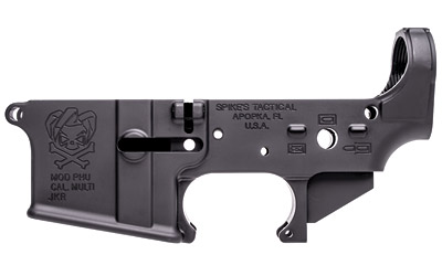 Spikes STLS024 Stripped Lower PHU AR-1 Platform Multi-Caliber Black Hardcoat Anodized