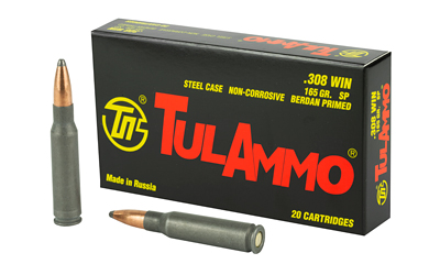 Tulammo TA308000 Centerfire Rifle 308 Win|7.62 NATO 165 GR Spitzer 20 Bx| 25 Cs