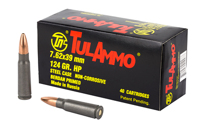 Tulammo UL076211 Centerfire Rifle 7.62X39mm 124 GR Hollow Point 40 Bx| 25 Cs