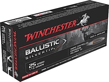 Winchester Ammo SBST25WSSA Supreme 25 WSSM 115 GR Ballistic Silvertip 20 Bx| 10 Cs