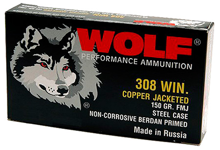 Wolf 308FMJ PolyFormance Rifle 308 Winchester|7.62 NATO 145 GR Full Metal Jacket 20 Bx| 25 Cs 500 Total (Case)