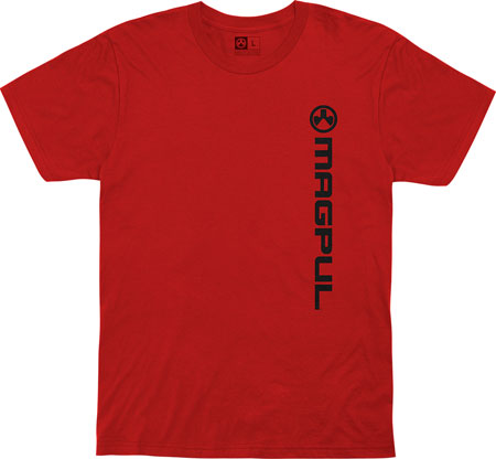 Magpul MAG1113-610-S Vertical Logo Red Small Short Sleeve