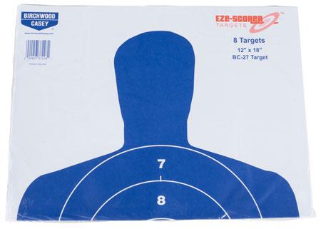 "Birchwood Casey 37228 EZE-Scorer BC-27 Paper 12"" x 18"" Silhouette Blue 8 Per Pack"""""