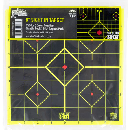 "Pro-Shot 8SI-GREEN-6PK Splatter Sight-In Self-Adhesive Adhesive Paper 8"" Diamond Yellow/Black 6 Per Pack"""""