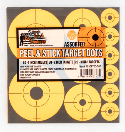 Pro-Shot ASSORTED-DOT Peel & Stick Target Dots Assorted Orange 10 Per Pack