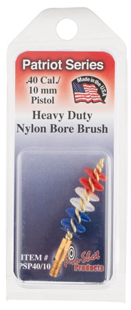 Pro-Shot PSP40/10 Pistol Bore Brush Patriot 10mm Auto Brass Core Nylon Bristle (Red, White, Blue)