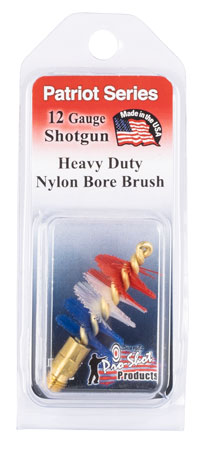 Pro-Shot PS12 Shotgun Bore Brush Patriot 12 Ga Brass Core Nylon Bristle (Red, White, Blue)