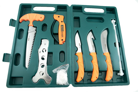 Accusharp 728C Game Processing Kit Stainless Steel Orange Rubber Handles