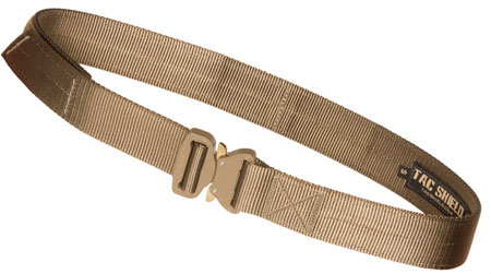 """TACSHIELD (MILITARY PROD) T303-SMCY Tactical Gun Belt w/ Cobra Buckle 30""""-34"""" Webbing Coyote Small 1.75"""" Wide"""""""""""