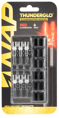 NAP NAP-ILLN-RD- Thunderglo Illuminated Nock Red Polycarbonate/Aluminum 6 Per Pack