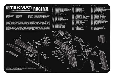 TekMat TEKR17RUGER-SR9 Original Cleaning Mat Ruger SR9 Parts Diagram 11