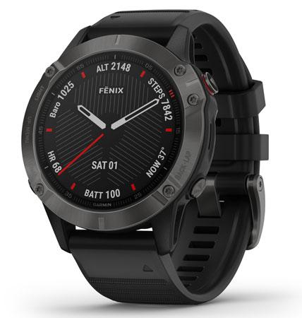 Garmin 0100255810 fenix 6 Sapphire Watch Black/Gray iPhone/Android