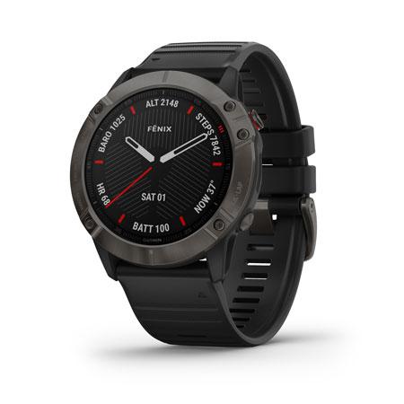 Garmin 0100215710 fenix 6 Sapphire Watch Carbon Gray DLC w/Black Band iPhone/Android