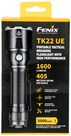 FENIX WHOLESALE FX-TK22UE TK22UE 1600/500/150/20 Lumens LED Aluminum/Steel Black Rechargeable
