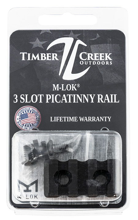 TIMBER CREEK OUTDOOR INC M3SPRBL M-Lok Picatinny Rail AR-Platform 3-Slot Black Hardcoat Anodized