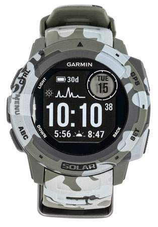 Garmin 0100229316 Instinct Solar Watch Lichen Camo Solar iPhone/Android Bluetooth/ANT+