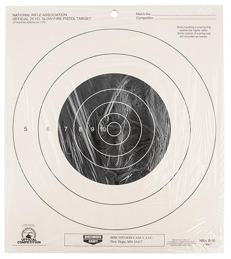 Birchwood Casey 37350 NRA 25 YD. Slow-Fire Pistol Target Bullseye Hanging Paper 25 Per Pack