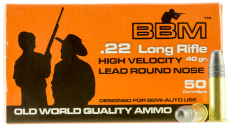 BBM 899033 High Velocity 22 Long Rifle (LR) 40 GR Copper-Plated Round Nose 50 Bx| 100 Cs