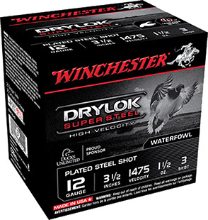 Winchester Ammo SSH12LH3 Drylock Super Steel High Velocity 12 Gauge 3.5in. 1 1/2 oz 3 Shot 25 Bx/ 10 Cs