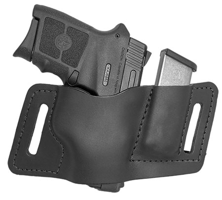 Versacarry WB380AMB2L QuickSlide with Laser and Mag Pouch 22|25 Autos, Very Small Frame 380s Water Buffalo Brown