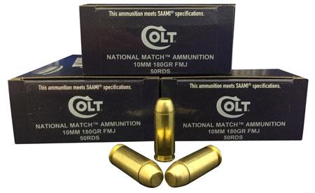 Colt Ammo 10M180FMJCT National Match 10mm Automatic 180 GR FMJ 50 Bx| 20 Cs