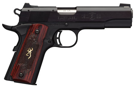 Browning 051851490 1911-22 Single 22 Long Rifle (LR) 4.25 10+1 Rosewood Grip Black Stainless Steel in.