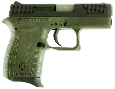 Diamondback DB380ODG DB380 Micro-Compact Double 380 Automatic Colt Pistol (ACP) 2.8 6+1 OD Green Polymer Grip Frame Grip Black in.