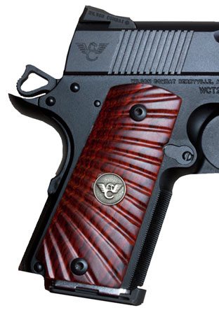 Wilson 351MCP Compact 1911 Grips Cocobolo w|Starburst Pattern Inset Medallion