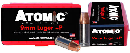 Atomic 00454 Defense 9mm Luger +P 124 GR Bonded Match Hollow Point 20 Bx| 10 Cs