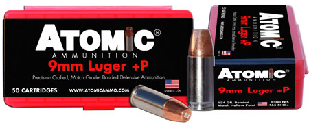 Atomic 00409 Defense 9mm Luger 124 GR Bonded MHP 50 Bx| 10 Cs