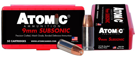 Atomic 00438 Subsonic 9mm Luger 147 GR Bonded Match Hollow Point 50 Bx| 10 Cs