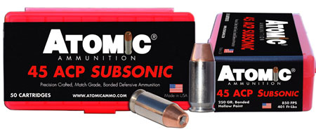 Atomic 00439 Subsonic 45 Automatic Colt Pistol (ACP) 250 GR Bonded Match Hollow Point 50 Bx| 10 Cs