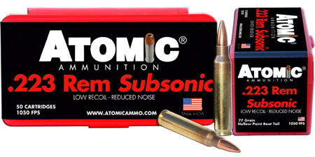 Atomic 00429 Subsonic 223 Remington|5.56 NATO 77 GR HPBT 50 Bx| 10 Cs