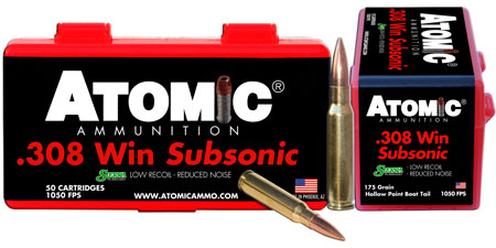 Atomic 00430 Subsonic 308 Winchester|7.62 NATO 175 GR SubSonic 50 Bx| 10 Cs