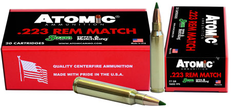 Atomic 00459 Match 223 Remington|5.56 NATO 77 GR Tipped MatchKing 20 Bx| 10 Cs