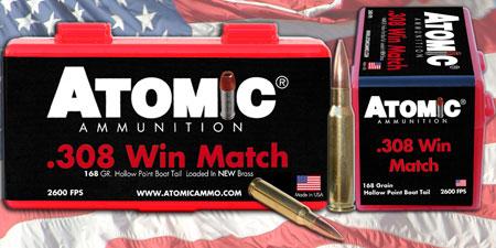 Atomic 00460 Match 308 Winchester|7.62 NATO 168 GR Tipped MatchKing 20 Bx| 10 Cs