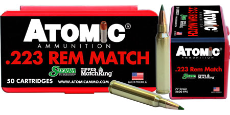 Atomic 00452 Match 223 Remington|5.56 NATO 77 GR Tipped MatchKing 50 Bx| 10 Cs