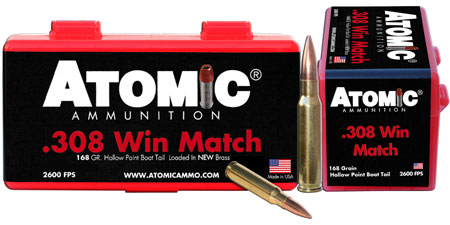 Atomic 00426 Match 308 Winchester|7.62 NATO 168 GR Hollow Point Boat Tail 50 Bx| 10 Cs