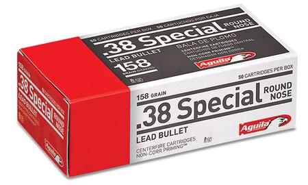 Aguila 1E382540 38 Special 158 GR Lead Round Nose 50 Bx| 20 Cs